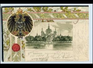 W0P61/ Gruß aus Bremen tolle Litho Wappen Prägedr. AK 1901
