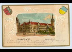 W0V69/ Braunschweig Rathaus Wappen Litho Präge AK 1902