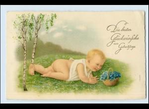 Y3948/ Geburtstag Baby schöne Litho AK 1929