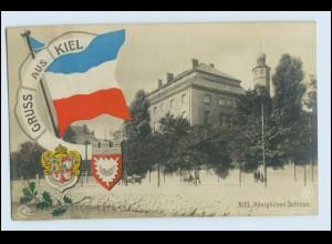 N6548/ Gruß aus Kiel NPG Foto AK Fahne Wappen ca.1912