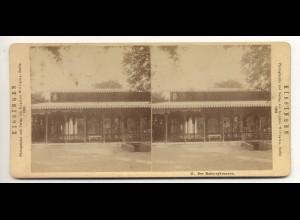 c306/ Stereofoto Bad Kissingen 1882 Rakoczybrunnen Verlag: Sophus Williams