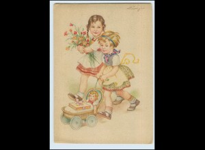 T1192/ Mädchen mit Puppe Puppenwagen AK sign: Lingen 1947