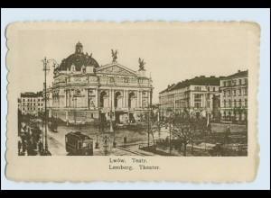 W1A24 / Lwow Lemberg Theater AK Straßenbahn 1916