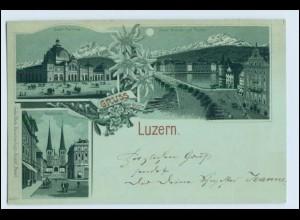 W1A05/ Gruß aus Luzern schöne Litho AK ca.1898 Mondschein