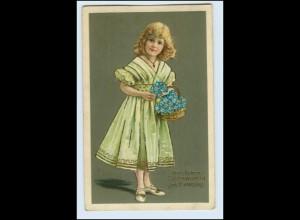 W1D23/ Namenstag Mädchen mit Blumenkorb 1909 Litho Prägedruck AK