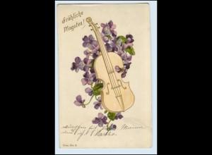 W1D00/ Pfingsten Geige mit Blumen 1901 Litho AK