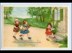 W1B12/ Geburtstag Mädchen Kinder mit Blumen AK ca.1930