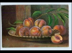W1E90/ Stilleben Obst Schale mit Pfirsichen AK