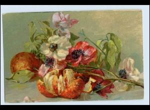 W1E89/ Stilleben Obst Orange mit Blumen Litho AK