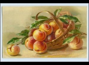 W1D52/ Stilleben Obst Pfirsiche Litho AK