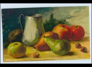 W1D54/ Stilleben Obst Äpfel und Birnen Litho AK