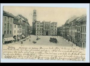 W1E50/ Zittau Marktplatz mit Rathaus AK 1902