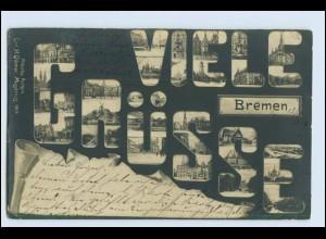 W1V67/ Bremen Mikrospkop Foto AK Fotomontage 1904