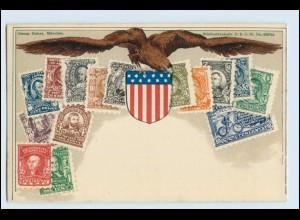 T1014/ Briefmarken Litho AK USA Verlag: Ottmar Zieher ca.1900