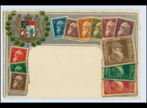 W2E81/ Bayern Briefmarken LItho Prägedr. AK 1911 Wappen
