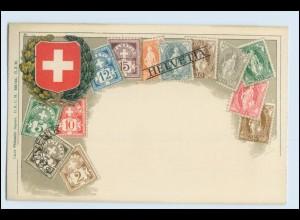 A0303/ Schweiz Briefmarken Litho AK ca.1910