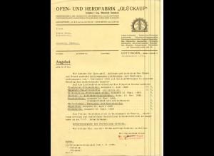 c438/ Brief Ofen- und Herdfabrik Glückauf Göttingen 1937