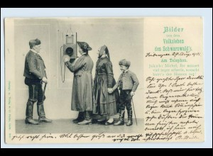 W2H57/ Am Telefon - Bilder aus dem Volksleben des Schwarzwald`s AK 1900