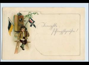 W2H51/ Kleiner Junge telefoniert Telefon AK Patriotik 1915