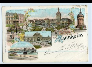 W2M29/ Mannheim Gruß aus Mannheim ca.1900 Litho AK
