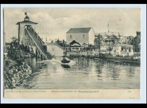 W2L16/ Mannheim Jubiläums-Ausstellung AK 1907 Wasserrutsche Vergnügungspark