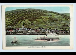 W2P02/ Assmannshausen Rüdesheim am Rhein Litho AK Rheindampfer ca.1910