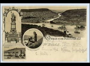 W2N76/ Rüdesheim am Rhein Gruß vom Niederwald Denkmal Litho AK 1897