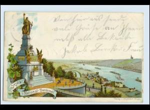 W2N79/ Rüdesheim am Rhein Gruß vom Niederwald Denkmal Litho Ak 1904