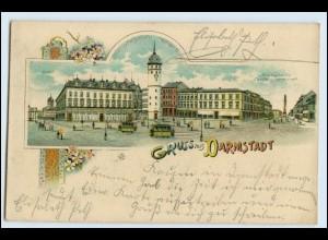 W2R79/ Darmstadt Gruß aus Darmstadt 1900 Litho AK
