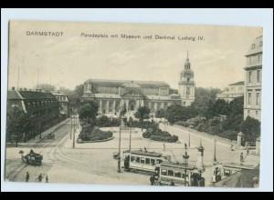 W2T35/ Darmstadt Paradeplatz Straßenbahn AK 1911