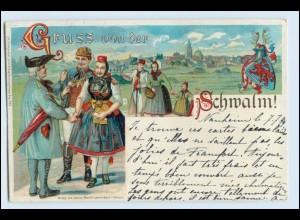 W3A49/ Gruß von der Schwalm Litho Trachten AK Verlag: G. Mandt 1899