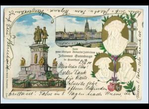 A9421/ Privatganzsache Frankfurt Gutenberg-Feier 1900 Prägedruck PP15 D8