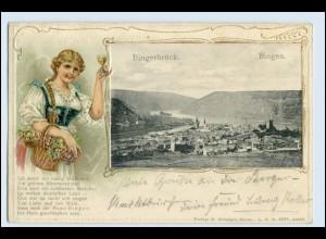 W3C37/ Bingerbrück Bingen Frau mit Weinglas Litho Präge AK 1908