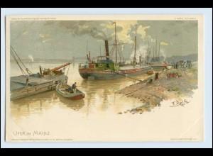 W3C64/ Mainz Hafen Litho Künstler AK F. Reiß ca.1900