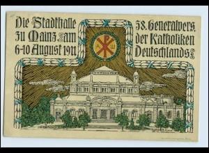 W3E92/ Mainz Katholikentag Stadthalle Litho Ak 1911