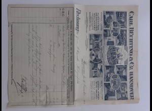 C4471/ Rechung Carl Büchting & Co. Hannover Kurzwaren, Hosen etc. 1913