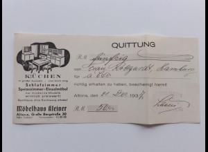 C4470/ Quittung Möbelhaus Kleiner Altona Gr. Bergstr. 30 1937 Küchen