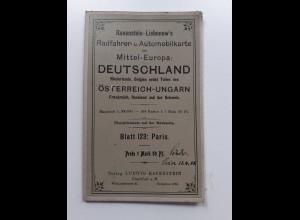 Y19944/ Ravenstein-Liebenow Rad-u. Automobilkarte Blatt 123 PARIS Frankreich