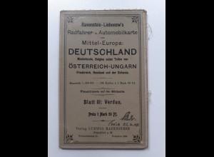 Y19942/ Ravenstein-Liebenow Rad-u. Automobilkarte Blatt III Verdun Frankreich