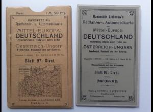 Y19949/ Ravenstein-Liebenow Rad-u. Automobilkarte Blatt 97 GIVET Frankreich