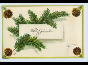 W3G72/ Weihnachten Litho Prägedr. AK Tannenzapfen 1907