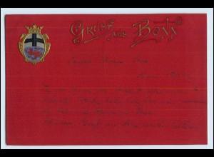 W3H72/ Gruß aus Bonn Wappen AK 1902