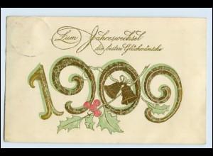 W3J26/ Neujahr Jahreszahlen Präge Golddruck 1909 AK