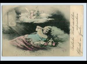 W4N23/ Weihnachten Mädchen schläft 1906 AK