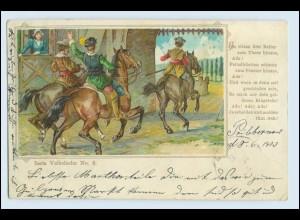 W3R49/ Volkslieder No. 6 AK Reiter Pferde Litho AK 1903