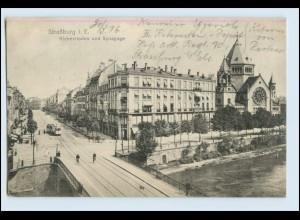 P2T57/ Straßburg AK mit Synagoge Straßenbahn ca.1915