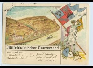 W5H32/ Mittelrheinischer Gauverband Litho AK Fahne Wappen 1926