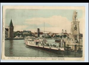 W4P01/ Lindau Hafen vom Leuchtturm gesehen 1902 AK