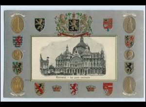 W3S90/ Anvers Belgien Wappen Litho Prägedr. AK ca.1905
