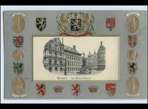 W3S89/ Anvers Belgien Wappen Litho Prägedr. AK ca.1905